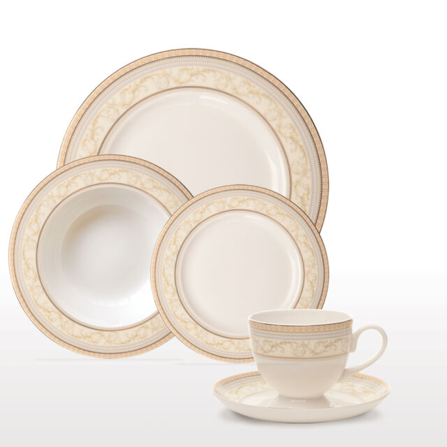 Sabichi Deluxe Gold Bone China 20Pc Dinner Set Dining Serving Dishes  167347_F
