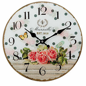 k chenuhr wanduhr landhausstil rosen glas uhr nostalgie stil wei gr n quartzuhr ebay. Black Bedroom Furniture Sets. Home Design Ideas