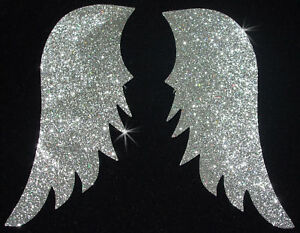 FABRIC-WING-A-N1S-silver-GLITTER-iron-on-hotfix-TRANSFER-PATCH-applique