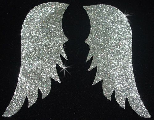 FABRIC WING A N1S silver GLITTER iron-on hotfix TRANSFER PATCH applique
