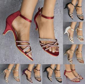 Volontaire Femme Strass Détail Chaton Talon Bout Ouvert Bride Cheville Sandales Chaussures Taille 3-8-afficher Le Titre D'origine