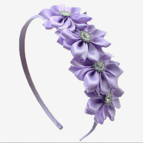 1 Pc Kids Girls Headband Satin Ribbon Flower Hair Wear Hair Accessories JS