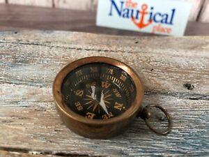 Antique Finish Brass Pocket Compass - Necklace Pendant Charm - Old Vintage Style