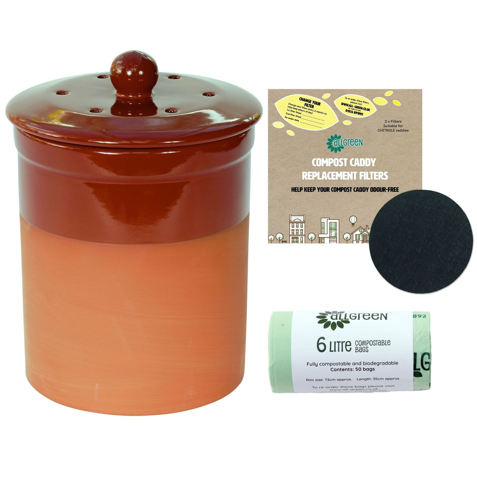 Chetnole Terracotta Ceramic Caddy-rot-2xFilters&50x6L Compostable Bags