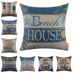 9609f140925f6d Details about Vintage Beach House Cushion Cover Retro Lake Pillow Case Flip  Flop Home Decor