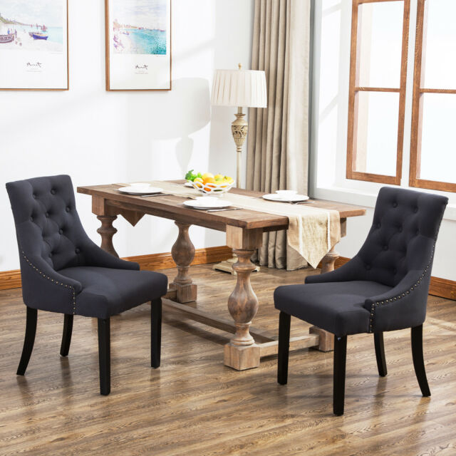 Set Of 2 Dining Chairs: Set Of 2 Curved Shape Tufted Fabric Upholstered Dining