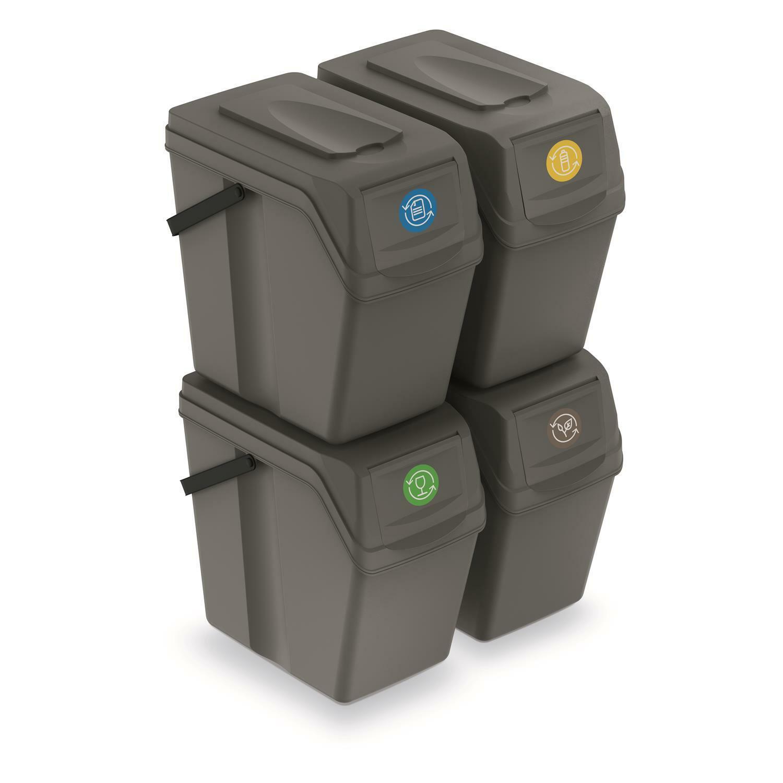 Cubos de Basura Segregación 4x25l Tapas de Colores Pegatinas Sistema Reciclaje
