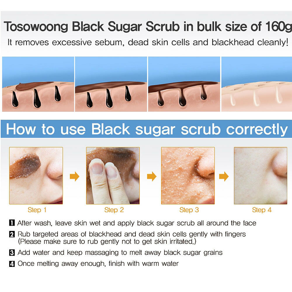 Tosowoong Black Sugar Scrub 160g Remove Blackhead Dead Skin Cell