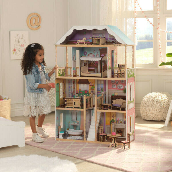 NEW KidKraft Charlotte Dollhouse | 14-piece furniture and accessory set
