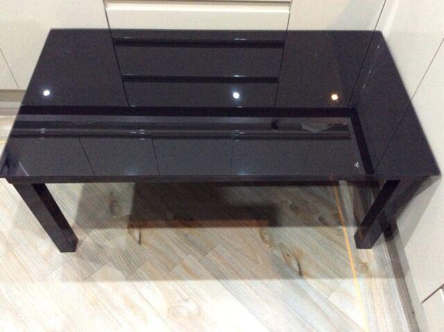 Modern Coffee Table , Black Glass , Black Metal Frame , Rectangle