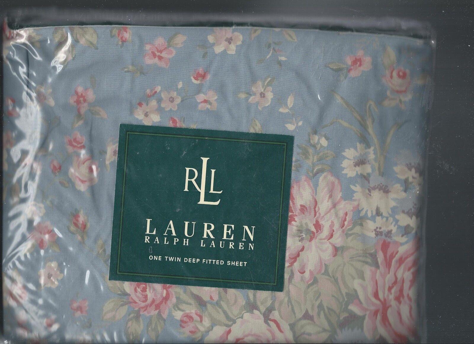 Ralph Lauren Shelter Island bluee Pink Floral Twin Fitted Sheet pinks New