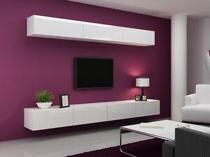 HIGH GLOSS TV CABINET TV WALL UNIT TV STAND VIVA A EBay - Tv wall units ebay