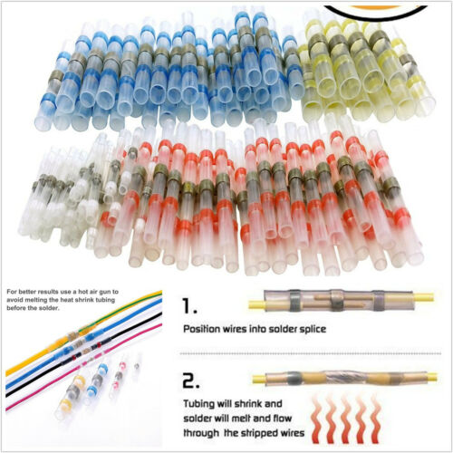 50 X Red Blue Yellow White Car Solder Sleeve Heat Shrink Tube Terminal Connector