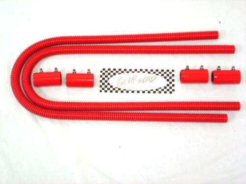 """COMPLETE 44/"""" Flexible Stainless Steel Heater Hose Kit Hot Rod Universal RED"""