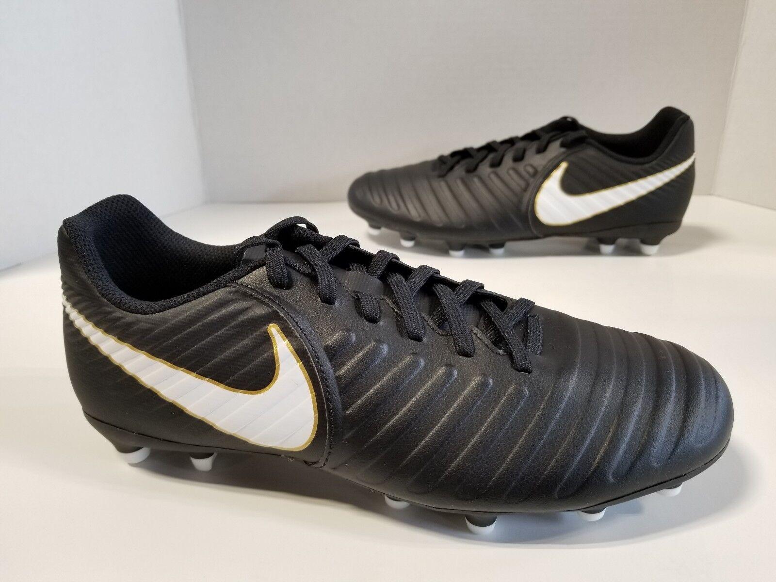NIB MENS Nike Tiempo RIO IV FG Soccer Cleats Black White Black 897759 002