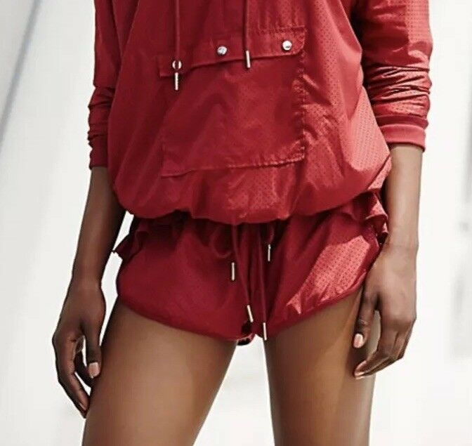 Free People Shorts Flounce Ruffle FP Movement Collection Burgundy Red Active