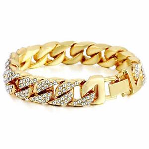 18K-Gold-Silber-Diamant-kristall-Cuban-Armband-armreif-Schmuck-herren-SH-ma-E6I1