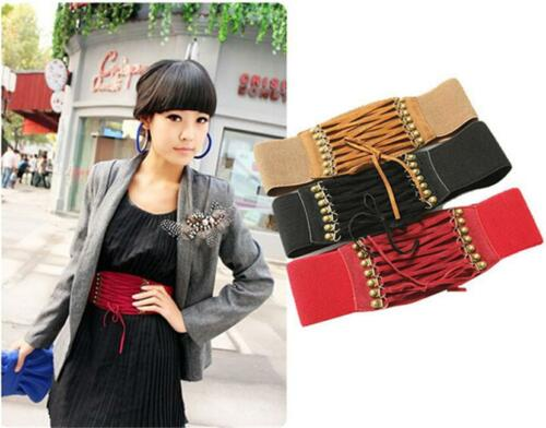 3 Colors Charmful Womens Rivet Elastic Buckle Wide Waist Belt Waistband Corset Z