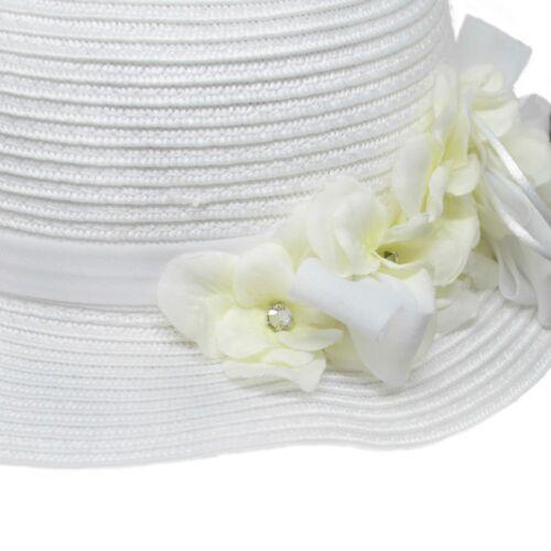 Details about  /Hat IN Raffia White with Flowers Newborn IL TRENINO CAP04