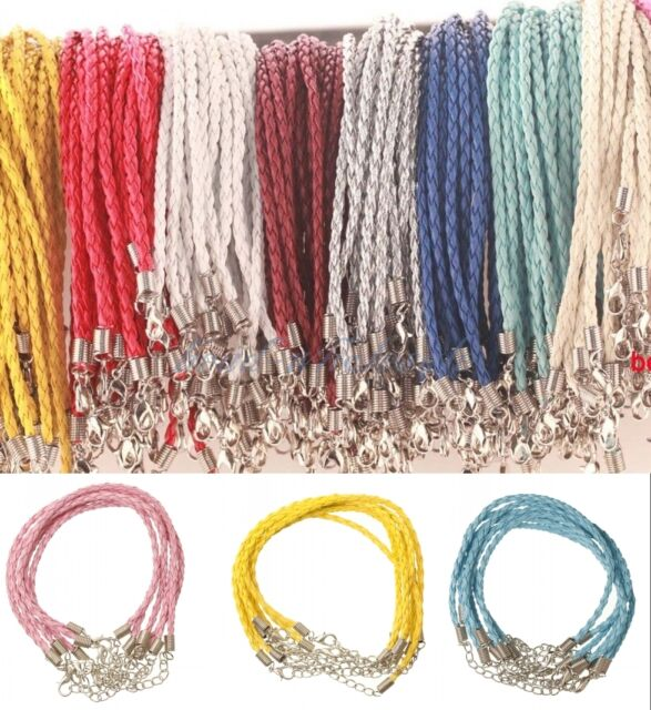 New 10pcs Braid Rope Hemp Cord Man-made Leather Bracelet Lobster Clasp 16 Color