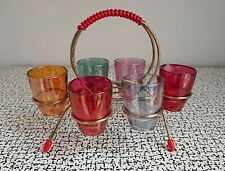 50s 60s Retro Vintage Kitsch Harlequin Coloured Shot Glasses Set & Wire Stand