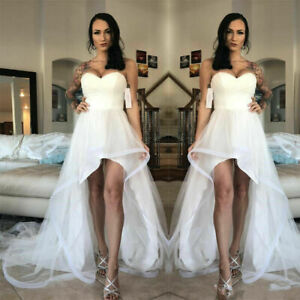 Details About Strapless Wedding Gown Simple Bridal Dresses Hi Lo White Ivory Train Custom Made