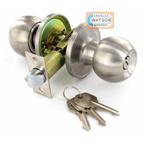Stainless Steel ENTRANCE KNOB SET Locking Key Door Handle Latch Fixings