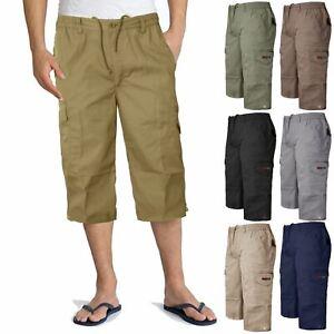 MENS-CARGO-COMBAT-3-4-LONG-SHORTS-ELASTICATED-WAIST-SUMMER-COTTON-PANTS-S-6XL