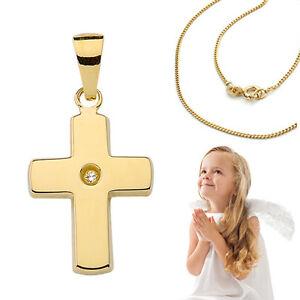 Taufe Kinder Kommunion Echt Gold 585 Kreuz Anhänger mit Silber Kette vergoldet