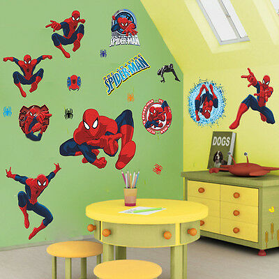 3d Spiderman Hero Wall Stickers Removable Art Decals Mural