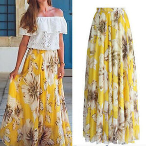 f311ff0ba6b145 Image is loading Women-Chiffon-Floral-Print-Pleated-Retro-Maxi-Long-