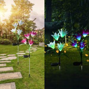 2X-Colorato-LED-Lampade-da-Giardino-Solare-Fiore-Illuminazione-Luce-per-Esterni