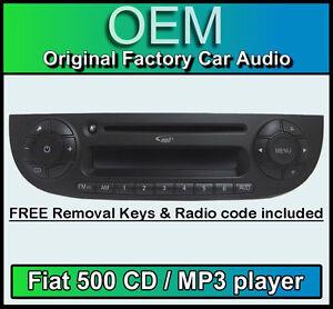 fiat 500 cd mp3 lettore, 500 autoradio colore nero con radio