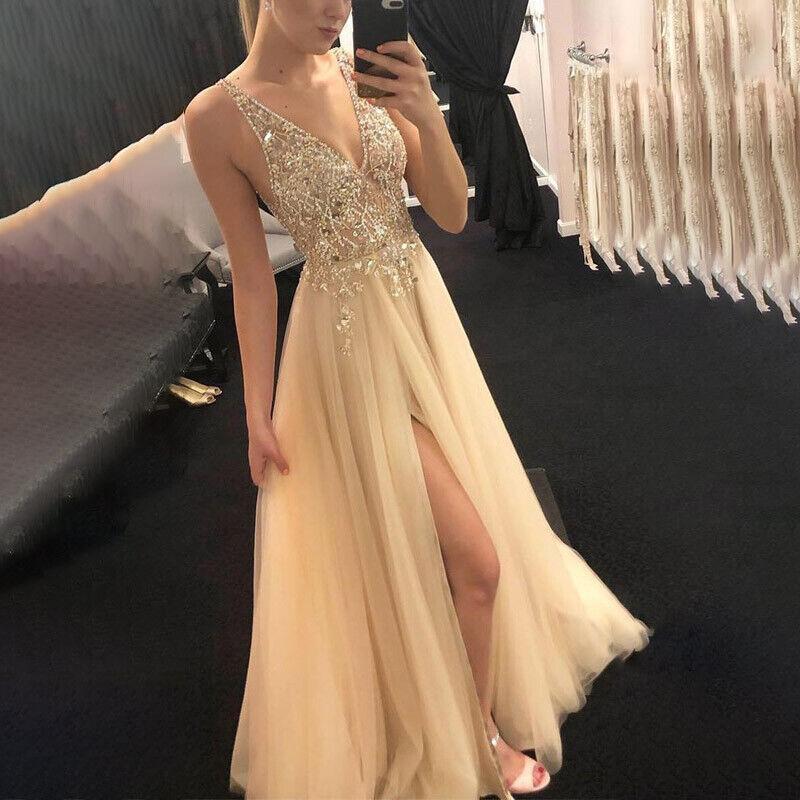 #3 Gold - Trägerkleid  Cocktail Partykleid Festlich Kleid