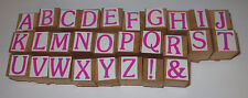 """Alphabet Stamp Set 26 Letters Wood Mounted 3/4"""" Stamps"""