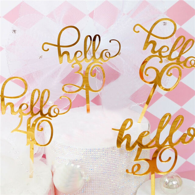 """/""""Happy Birthday/""""10//20//30//40//50//60th Gold Silver DIY Cake Topper Party Supplies"""