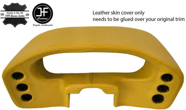 YELLOW REAL LEATHER SPEEDO DASH POD COVER FOR PORSCHE 928 1978-1989