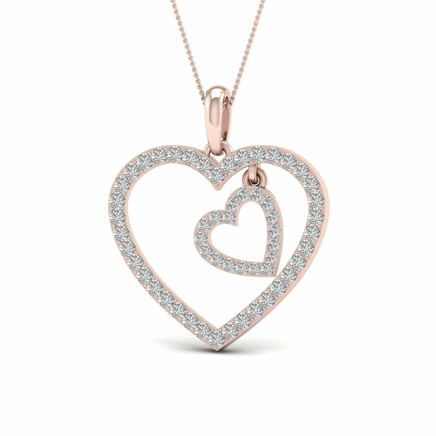 10kt pink gold Heart Pendant Valentine Gift Natural Diamond 18  Rope Chain