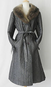 Vtg Union Made Puffle Coat Qultied Gray A-Line Raccon Fur Collar Belted Size L