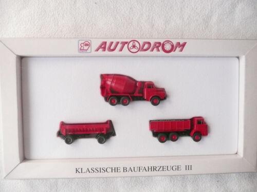 Wiking 99016 Autodrom Klassische Baufahrzeuge III Set mit 3 Fahrzeugen 1:87