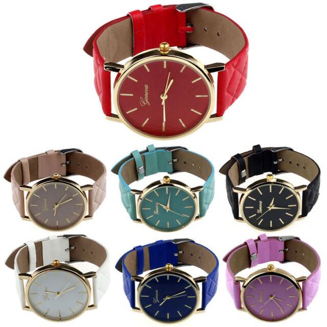 Geneva Watches Men Women Watches Faux Leather Quartz Analog Wrist Watches Casual