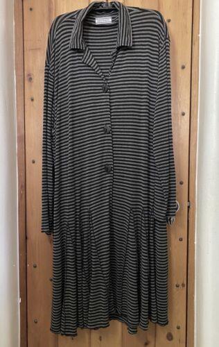 Transparente Lagenlook Striped Coat Black Gray Plu