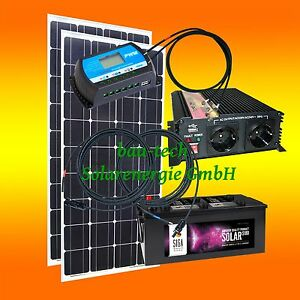 200 watt camping solaranlage 12 volt set w hlbar. Black Bedroom Furniture Sets. Home Design Ideas