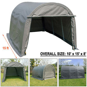 Outdoor Car Storage >> Details About 10x15 Ft Canopy Carport Tent Car Shed Shelter Outdoor Storage Cover Sun Uv Proof