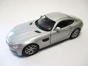 Mercedes-AMG-Gt-en-Plata-Coche-a-Escala-Metal-1-3-4-Diecast-Welly-Nex-Modelo