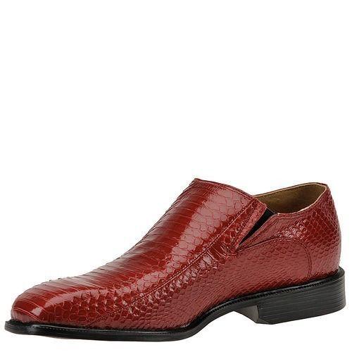 Giorgio Brutini Mens Felix 15521 Snakeskin Plain Toe SlipOn Side Gore Loafer Red