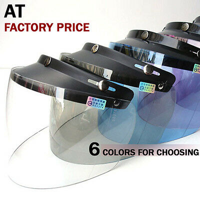 Brand 3-Snaps Helmet Visor Flip-Up Shield Full Face Design For Open Face Helmet