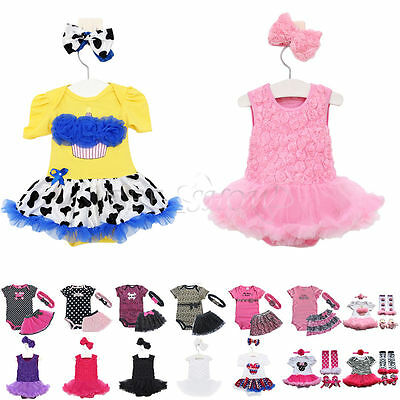NEW Baby Girl Set Romper + Dress + Headband Size 0000,000, 00,0 Outfit Clothes