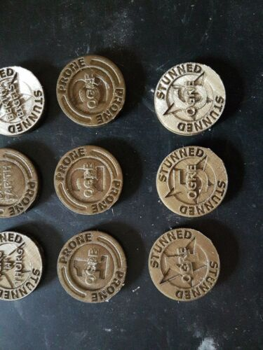 Blood Bowl Ogre Team And Star Player Stunned Prone Coins Markers Tokens
