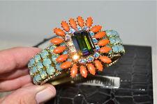 NIB $395 RODRIGO OTAZU Coral Opal DNA Cut Crystal Hinged Bangle Bracelet